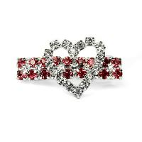 Hundehaarspange Crystal Heart mit Strass