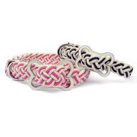 Hundehalsband Sailor Natural geflochten in pink und blau
