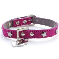 Hundehalsband aus Wildleder in pink Rainbow Star