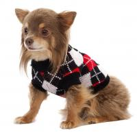Hundepullover Black Argyle mit Chihuahua