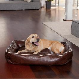 Hundebett - Leather - beige, braun