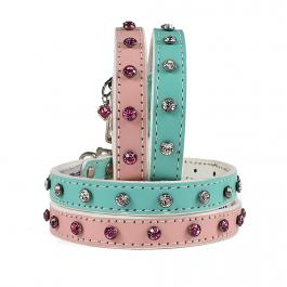 Hundehalsband - Candy Collection mit Strass - rosa, aqua